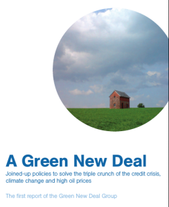 Cover from the NEF Green New Deal report, 2008.